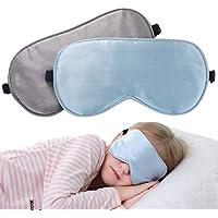 Preisvergleich für LONFROTE 2 Stück Kinder Mädchen Junge Seide Schlaf Augenmaske Schlafmaske mit Tragetasche, Leicht & Bequem und...