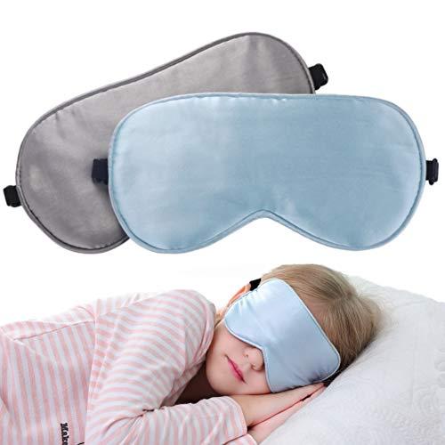 LONFROTE 2 Stück Kinder Mädchen Junge Seide Schlaf Augenmaske Schlafmaske mit Tragetasche, Leicht & Bequem und Verstellbar, Super Weiches Material für Alter 3 bis 17 Jahren (Blau + Grau) -