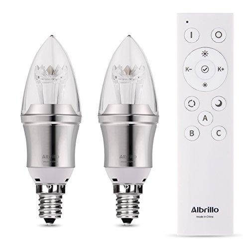 Albrillo 3W E14 LED Kerzenlampe, dimmbar mit einer 2.4G Fernbedienung, 350 Lumen, 2er Pack