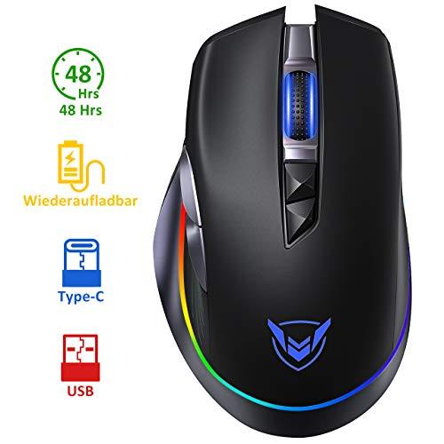Holife Gaming Maus RGB, kabellos Maus USB mit Typ-C Aufladung Kabel, 10000 DPI/1000hz/8 programmierbaren Tasten/Feuer Tasten, Wired Mouse Pc mit Dual Mode , Laptop Gaming Mouse für pro Gamer (Schwarz)
