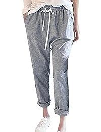 392c435670fa1 SANFASHION Pantalons Pantalon Femme Casual Plaid Pants Taille Haute  éLastique Pantalon Carotte Loose Grande Taille