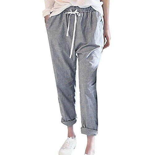 XNBZW Damen Gestreifte Hohe Taillen-beiläufige Lose Weites Bein Hose Elastische Taille Sommerhose Pumphose Haremshose Pluderhose Lange Hose(Grau,3XL)