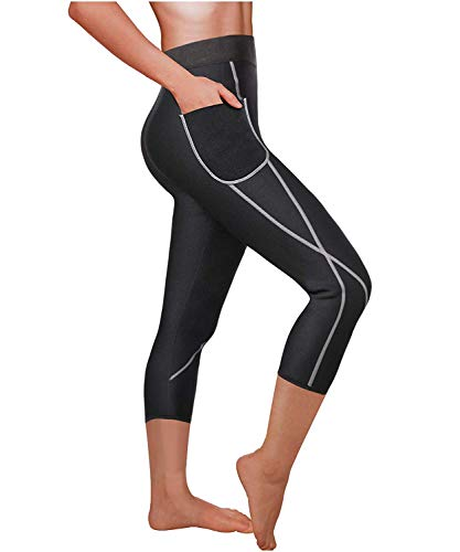 Leggings, Anti-Cellulite-Hose, Sauna, Schlankheitshose, Hot Shapers, Damen, Sport, Mantel, Beine Gr. Medium, Schwarz