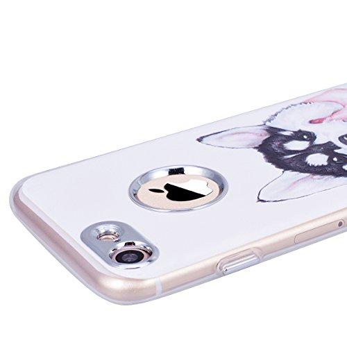 GrandEver iPhone 7 Plus Hülle Weiche Silikon Handyhülle TPU Bumper Schutzhülle für iPhone 7 Plus Rückschale Klar Handytasche Anti-Kratzer Stoßdämpfung Ultra Slim Rückseite Silicon Backcover Soft Case  Welpe