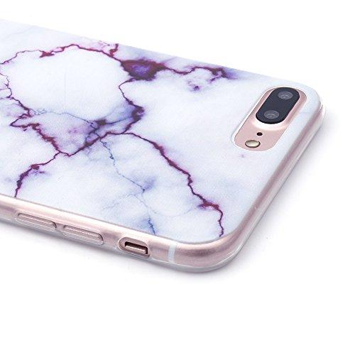 iProtect TPU Schutzhülle Apple iPhone 7 Plus, iPhone 8 Plus Softcase Hülle Marmor Edition in schwarz gold marmoriert Marmoriert weiß lila