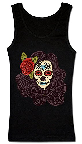 Creepy Girl With Flower In Her Hair Women's Tank Top Shirt Extra Large (Lips Black Halloween-make-up)