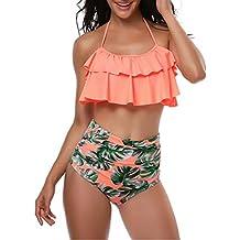 d5dfe38dd2d2 SELENECHEN Costumi da Bagno Donne Due Pezzi Capestro Bendare Foglie di  Fiori Stampa Costume Bikini Costume