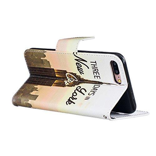 Etui IPHONE7PLUS, Frlife| Housse Portefeuille Coque Protection pour IPHONE7PLUS, en PU Cuir, avec Stand et Rangement Cartes, Case Cover couleur 5