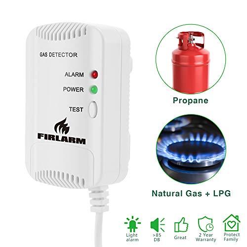Gasmelder, Haushalts Erdgas Flüssiggas Stadtgas Alarme, Brennbaren Methan Propan Butan Gas Lecksucher, Stroboskop-Warnleuchte Monitor, einsteckbarer Gaslecksensor (weiß)