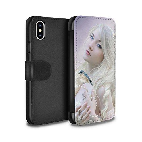 Offiziell Elena Dudina PU-Leder Hülle/Case/Tasche/Cover für Apple iPhone X/10 / Schöne Pfau Muster / Die Vögel Kollektion Weißer Vogel/Engel