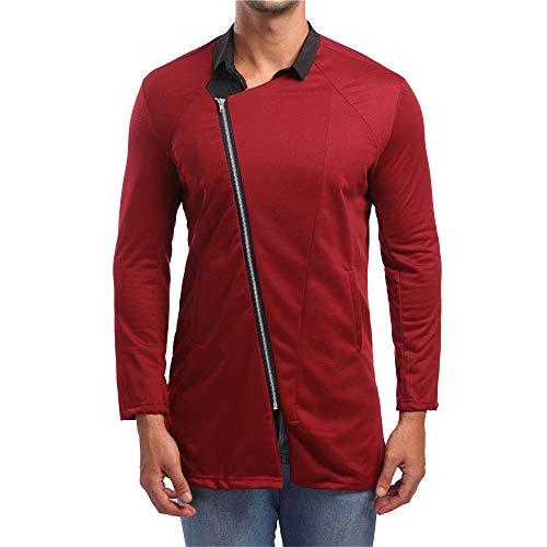 ZIYOU Freizeit Hemden Slim fit Long Sleeve T-shirst mit Lange Reißverschluss Herbst Oberteile Tops (M,Rot)
