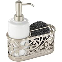 mDesign Dosificador de jabon recargable – Dispensador de jabon con soporte para esponja y estropajo - Dispensador de gel, jabón y detergente de 385 ml - blanco/satinado