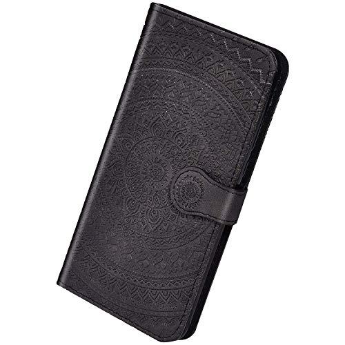 Herbests Kompatibel mit Huawei P30 Handyhülle Hülle Flip Case Sonnenblume Muster Leder Schutzhülle Klappbar Bookstyle Lederhülle Leder Tasche mit Magnet Kartenfach,Schwarz