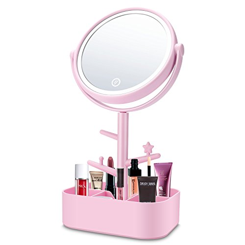 AIDBUCKS Kosmetikspiegel mit LED Beleuchtung Schminkspiegel mit Licht Make up LED Reise Spiegel Batterie Via Touch-Screen und 360°...
