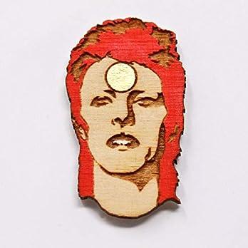 Telestic Design Rockstar-Revers Pin | Handgemalte Holz Brosche Rot, Weiß, Gold, Braun