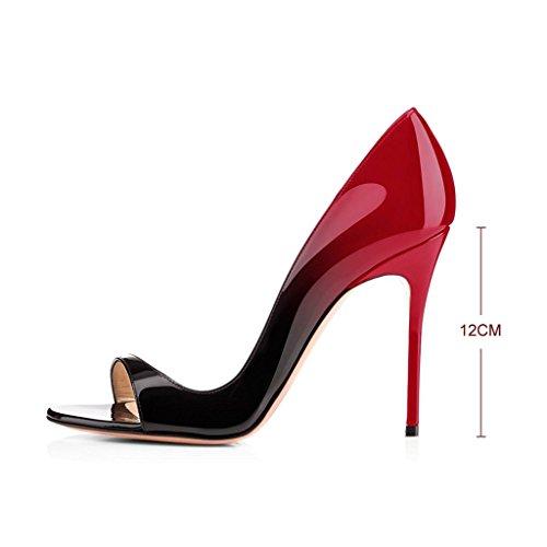 ELASHE Escarpins Femms Bout Ouvert Talon Aiguille 12cm Talon Haut Chaussures de Soirée Mariage Rouge-Noir