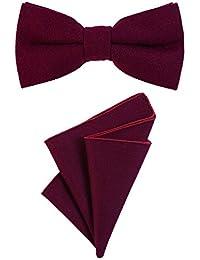 DonDon Pajarita para caballero 12 x 6 cm, atada y de tamaño ajustable, y pañuelo de bolsillo de 23 x 23 cm a juego de algodón