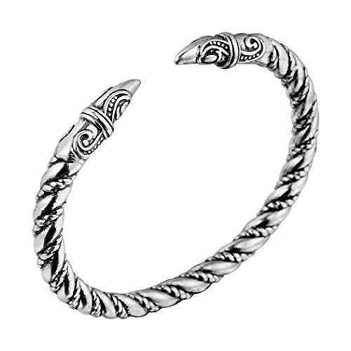 Wikinger Drachenkopf Armreif, AILUOR Einzigartiges Design Drachen Herren Armband Edelstahl Verdrehten Stahlkabel Armreif Keltischer Knoten Manschette - Elastische Verstellbare (Silber-2) (Piraten-schmuck Frauen Für)