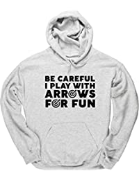 HippoWarehouse Be Careful I Play with Arrows for Fun Jersey Sudadera con Capucha suéter Derportiva Unisex