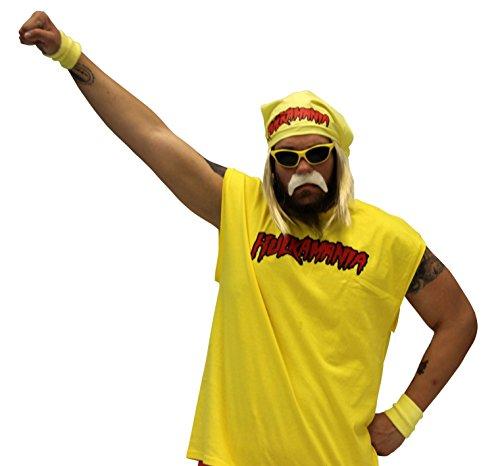 Hulk Hogan Hulkamania Complete Kostüm Set (Erwachsene 3X, Gelb Sunglasses/Gelb (Hogan Hulk Erwachsene Kostüme Für)