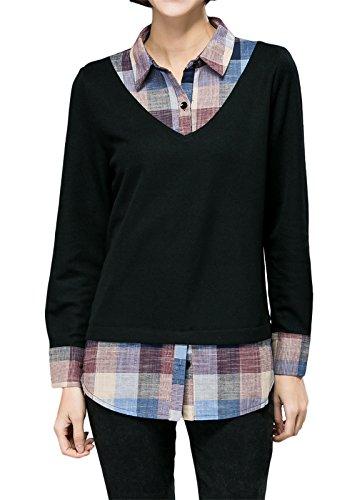 luna-et-margarita-grande-taille-blouse-femme-a-carreaux-col-chemise-noire-2-en-1-taille-46
