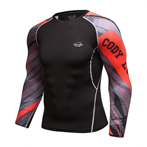 Fenverk Herren Funktionsshirt Kompressionsshirt Fitness Unterhemd Rundhals-Ausschnitt Tight Dual FunktionswäSche Base Layer Langarm(rot-05,M)