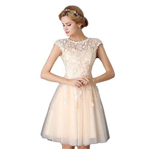 Drasawee Damen A-Linie Kleid Beige - Champagne Color