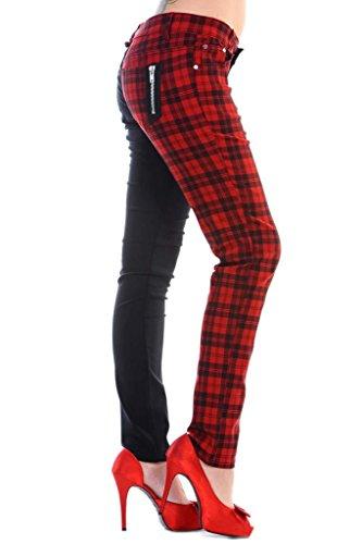 Banned Tartan Karo Emo Punk Geteilte Beine Roten Enge Hose Für Damen - Rot (XS - 34) (Damen Karo Hose)