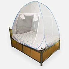 Cratos Single Bed Mosquito Net - White with Blue/Pink Border