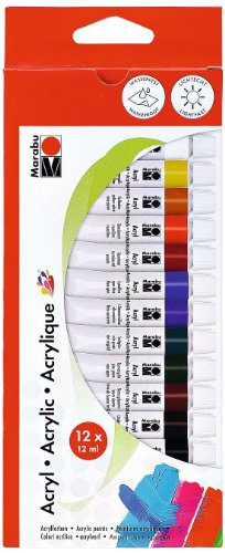 Marabu 121000200 - Acrylfarbenset, 12 x 12 ml