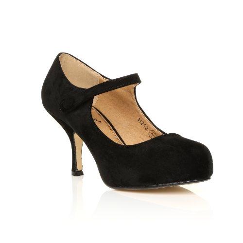 ShuWish UK  Damen Pumps schwarz schwarze Velourslederoptik