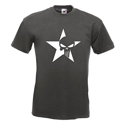 KIWISTAR - US Punisher Stern Star T-Shirt in 15 verschiedenen Farben - Herren Funshirt bedruckt Design Sprüche Spruch Motive Oberteil Baumwolle Print Größe S M L XL XXL Graphit