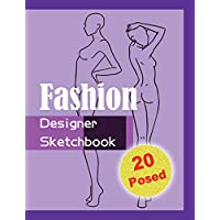 Fashion Designer Sketchbook - Purple: 20 Figure sketch different posed template will easily create your fashion styles