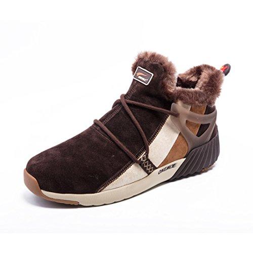 Onemix Damen Herren Warm gefütterte Kurzschaft Schnee Stiefel Sneaker Schwarze Boots Schuhe Winter Dunkelbraun / Khaki