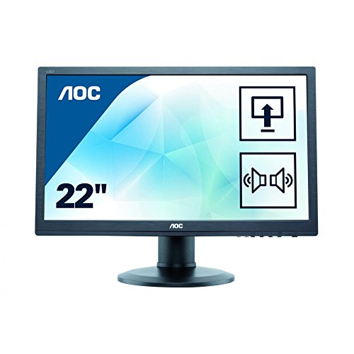 AOC E2275PWQU 54,6 cm (21,5 Zoll) Monitor (VGA, DVI, HDMI, TN Panel, USB Hub, 2ms Reaktionszeit, DisplayPort, 1920x1080, 60 Hz, FlickerFree) schwarz -