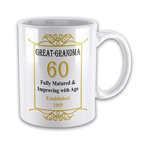 Cwb2jcwb2jcwb2j Great Grandma 60th Birthday Established 1959 Year Novelty Gift Mug