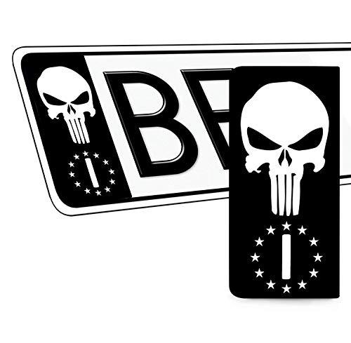 Skino 2 x Adesivi Vinile per Targa Stickers Auto Motociclo Tuning Bandiera Italia Europa Identificazione Europeo Punisher Skull Teschio Cranio EU QV 41