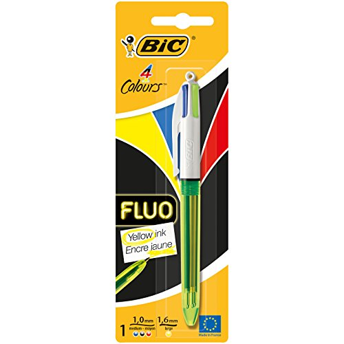 BIC 4 Colores Fluo - Bolígrafo con tres puntas con colores clásicos y una más gruesa fluorescente