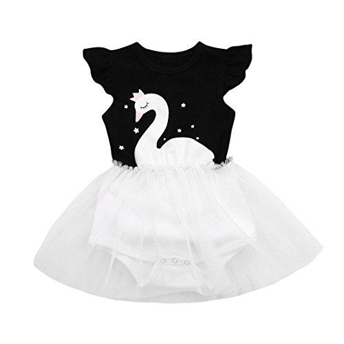 idung Longra Baby Mädchen Strampler Kleid mit Star Swan Print Prinzessin Tutu Kleid Mädchen Kleider Baby Kurzarm Sommerkleidung (Black, 70CM 6Monate) (Star Tutu)