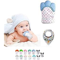 Funky Planet Baby dentición Manoplas, Protege Manos Bebés, Pain Relief Tranquilizadora de Edad + BUFANDAS (Mint) (Blue)