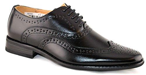 Jungen-Schnürhalbschuhe, Leder, gefüttert, für festliche Anlässe, elegant, Schwarz, 36 2/3 EU (Kommunion Jungen Schuhe Für)