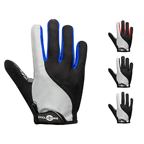 CYCLEHERO Sommerhandschuhe kurz - Reflektor: Fahrradhandschuhe Männer Radsporthandschuhe Fahrrad Handschuhe (blau - lang, S)