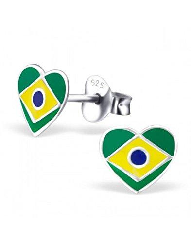 Mon-bijou - H23427 - Ohrringe Herz aus Brasilien aus Sterling-Silber 925/1000