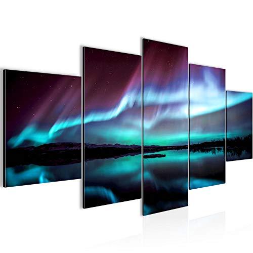 Bilder Polarlicht Wandbild 200 x 100 cm Vlies - Leinwand Bild XXL Format Wandbilder Wohnzimmer Wohnung Deko Kunstdrucke Blau 5 Teilig - Made IN Germany - Fertig zum Aufhängen 609151b