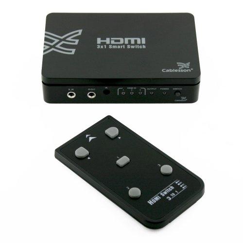 Basic 3x1 HDMI interruttore con telecomando - 3 Porte HDMI Interruttore 3 x 1 (3 Ingressi, 1 Uscita) v1.3b per HDTV / Blue ray / PS3 / Xbox 360, 1080p full HD supportato