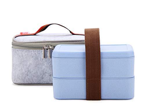 Worthbuy Bento Box - Fiambrera para microondas (apilable, 2 estantes, con bolsa aislada para el almuerzo, para niños y adultos) azul