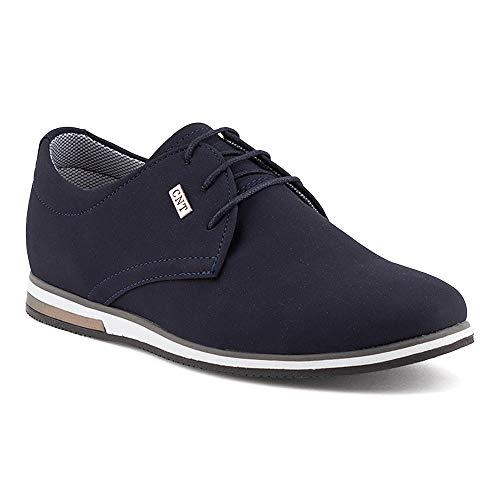 Fusskleidung Herren Business Schnürer Casual Halb Sneaker Schuhe Anzugschuhe Dunkelblau EU 41