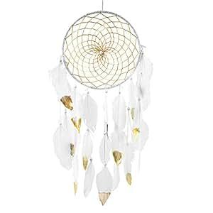 Soledì Acchiappasogni Indiano Dreamcatcher Decorazioni Stanza Cerchio (bianco) Lunghezza 52cm Diametro 20cm