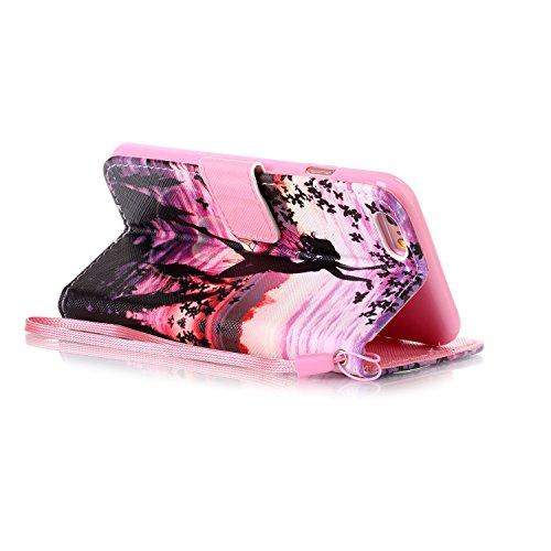 MOONCASE IPhone 6 / 6S Étui, [Dreamchaser] Dessin Motif Bookstyle PU Cuir Flip Housse Etui à rabat Portefeuille TPU Case Cover avec Strap Lanière pouriPhone 6 / 6S (4.7 inch) Dancer and Butterfly