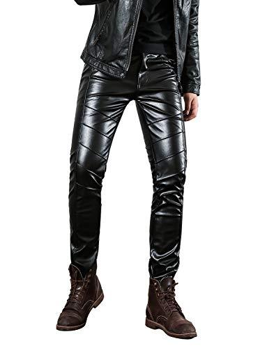 Idopy Pantaloni di cuoio del Faux del cuoio molle Slim Fit del nero degli uomini di (W34(Vita 84cm), Nero 2#)
